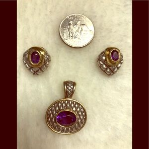 Jewelry - Amethyst earrings and pendant 18k sterling silver